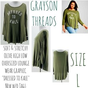 Grayson Threads Top Size L Olive Lounge Wear NWOT